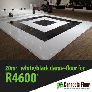 Black and white vinyl dance floors